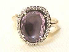 New Pandora Sterling Silver Glamorous Legacy Amethyst Ring 190893AM Size 56