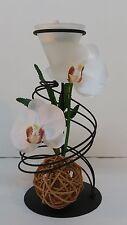 Teelichthalter aus Metall mit Orchideendeko in Weiss Frühling Sommer Deko