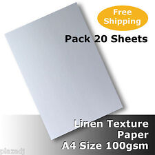 20 Sheets Linen Texture Finish Paper A4 Size 100gsm Quality White #H6011 #D5