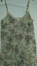 New Cream/Black Floral Cami Style Top Size 14