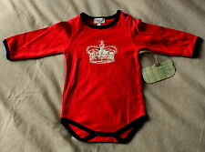 NEW Hickory Bamboo Organic Cotton Red & Gold Bodysuit Age 0-1 Months FREE P&P