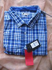 Herren Sommer Stretchhemd Markenware Gr. 8XL 57/58 blau/weiß kariert Langarm