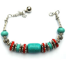 Turquoise Coral Stone Tibetan Silver Bangle Beads Delicate Chain Bracelet 37