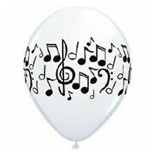 Party Supplies Birthday 50's Rock n Roll Music Notes White & Black Balloons Pk10