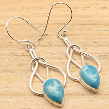 Natural LARIMR Drop Handmade Unique Design Jewelry Earrings 925 Silver Plated