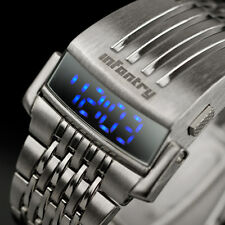 INFANTRY Mens Digital LED Wrist Watch Sport Army Date Fashion Stainless Steel