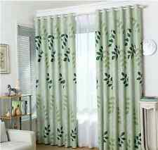2 x Summer Time Blockout Eyelet Curtains Green Leaves 180cm x 230cm -Pair