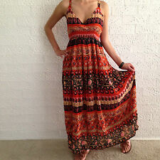 Women Sleeveless Boho Gypsy Crossover Summer Maxi Casual Dress Size 8,10,12,14