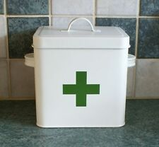 Vintage / Retro Style Metal First Aid Tin Box - White With Green Cross NEW