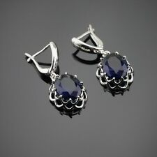 Madagascar Blue Sapphire Gemstone Silver Earrings + Gift Box