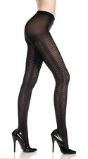 BLACK TIGHTS OPAQUE PATTERNED QUALITY HERRINGBONE NEW MUSIC LEGS 7038 FAST POST