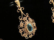 P016- Lovely Genuine 9ct Solid ROSE Gold Natural TOPAZ Drop PENDANT Filigree