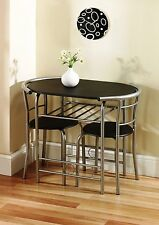 3 Piece Kitchen Dining BBQ Table Set for 2 with Chairs Wood Top Metal Finish