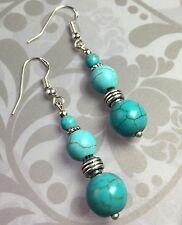 Antique Vintage Style Turquoise Howlite Earrings Drop Silver Hooks Present Gift