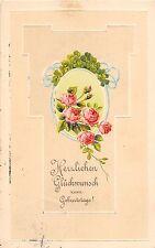 BG4309 clover rose  geburtstag flower birthday embossed  germany  greetings