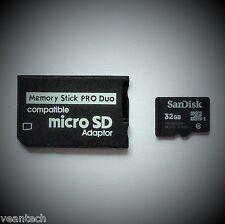 Memory Stick PRO Duo Adapter + Sandisk 32GB microSD SDHC für SONY Geräte PSP NEU