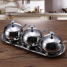 3pc Stainless Steel Spice Jar Spherical Kitchen Seasoning Bottle Cans Set 7829U