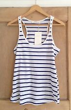 ZARA top size S 8 BLUE White NAUTICAL Striped BNWT