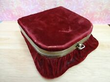ANTIQUE Victorian Jewelry Sewing Box Red Velvet MIRROR Gold Look Metal Trim