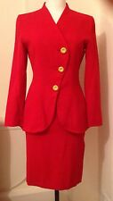 Red Fitted Yves Saint Laurent Vintage Suit  Size 8