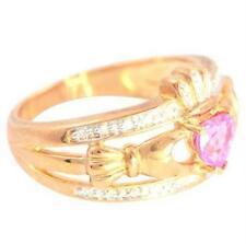 Natural Claddagh Pink Topaz & 20 Diamond 9K 9ct Solid Gold Celtic Ring Bravo