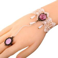 Stylish Jewelry White Lace Bangle Pink Rose Flower Design Bracelet Chain Ring