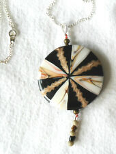 44mm round m-o-p + shell pendant - 18'' chain