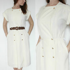 VINTAGE 1980S CREAM NAUTICAL CASUAL ANCHOR BUTTONS ROCKABILLY MIDI DAY DRESS 10