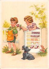 AK Künstlerkarte Kinder Mädche Junge mit Hund Rose Postkarte