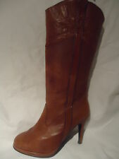 LADIES FAITH TAN LEATHER PULL ON PLATFORM BOOTS UK 7/ EU 41