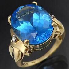 Bold ~10ct Blue TOPAZ & DIAMOND 9ct GOLD DRESSY COCKTAIL RING solid yellow Sz N