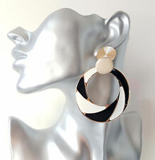 Gorgeous large RETRO black - white & gold tone patterned hoop drop earrings