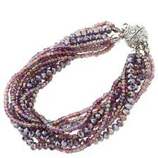 Purple Wristband Bracelet Multi Layers Beads Magnetic Clasp Gift 170mm