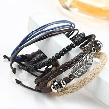 4 in 1 Fashion Men's Braided Leather Beaded Wristband Cuff Rope Bangle Bracelet