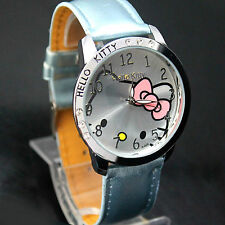 Gilrs Woman Kids Hello Kitty Watch Light Blue Silver Steel Casing Leather Band