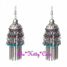 Antique Silver Ethnic Indian Purple & Teal Crystal Chandelier Bollywood Earrings