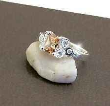 RING  JEWELLERY JEWELRY 925 STERLING SILVER GOLDEN  CZ DRESS  RING  SIZE 8 OR P