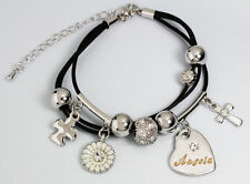 Genuine Braided Leather Charm Bracelet With Name - ANGELA - Gifts for her