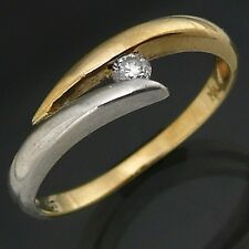 Modern 9k BYPASS STYLE DIAMOND ENGAGEMENT RING solid yellow white estate Sz L1/2