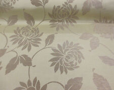 "Beige & Brown ""Kira-Natural"" Jacquard Floral Curtain Fabric. (Made For Dunelm)"