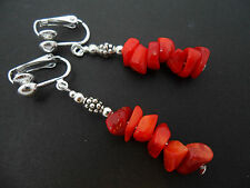 A PRETTY PAIR OF RED CORAL CHIPS  DANGLY CLIP ON EARRINGS. NEW.