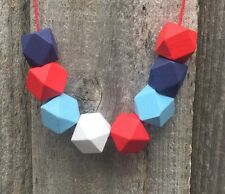 Funky Handmade Red Blue White Geometric Wooden Bead Statement Necklace. NEW