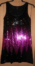 Evie Collection Black & Purple Sequinned Stretch Party Evening Dress size 10