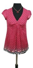 JIGSAW Top Size 8 Red & Blue Floral Cotton Designer Casual Everyday