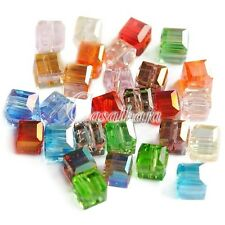 100pcs Square Assorted Uncoated Crystal Spacer Beads 4*4*4mm CR0355