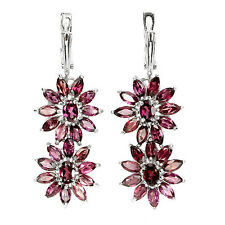 Sterling Silver 925 Genuine Natural Rhodolite Garnet Double Flower Earrings