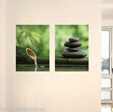 Stimmungsbild Bambus Stein Kunst Set selbstklebendes Wandbild Wandtattoo XL Neu