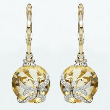 Exquisite 18ct Yellow Gold Diamond and Citrine Leverback Earrings