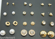 New Set 12 Pairs Heart Round Square Ball Crystal Ear Studs Earrings Jewelry SALE