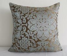Exquisite Aqua on Bronze Brown Abstract Florals Silky Cushion Cover 45cm
